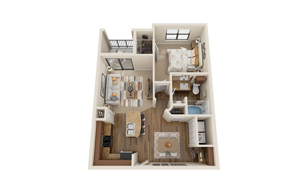A2 - 1 bedroom floorplan layout with 1 bath and 770 square feet. (3D)