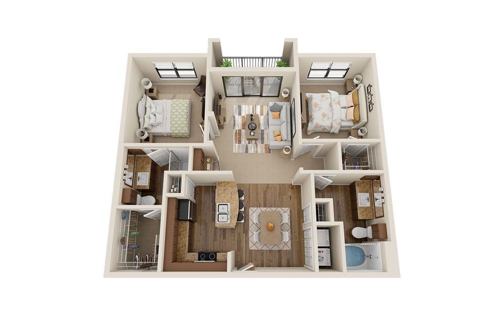 B1 - 2 bedroom floorplan layout with 2 baths and 1120 square feet. (3D)