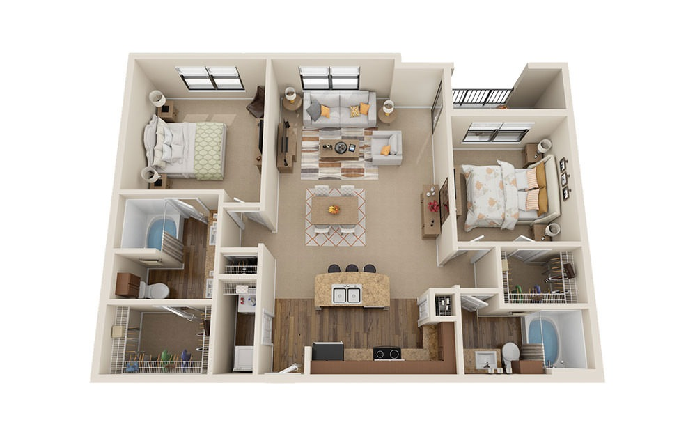 B2 - 2 bedroom floorplan layout with 2 baths and 1270 square feet. (3D)